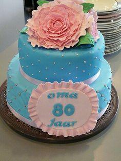 De taart die ik gemaakt heb voor oma van Dave...
