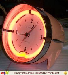 Cicena Cruiser Headlight Alarm Clock, 1970's, Neon Pink by KTsAttic Etsy