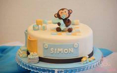 Torta para baby shower #DulceLaura #cakelife #fondantcake #monkey #monito #babyshower