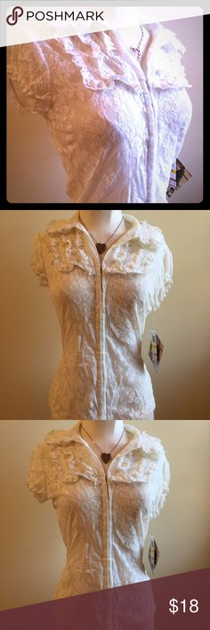 """Bohemian Steampunk Lace Hook n Eye Ruffled Top M Brand new, with tags, Rampage ruffled lace top with hook and eye closures. Top has Ruffles in the front, cap sleeves, and a fitted look. It is perfect for the office. Tagged a size M, but has stretch. Chest is 36"""", length is 22"""" Rampage Tops Blouses"""