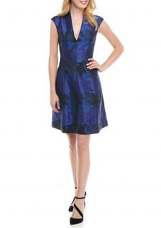 Maggy London  Printed Deep V-Neck Fit and Flare Dress
