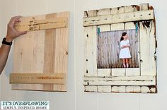 cute! diy frame  use cheapo balsa wood at Hobby Lobby...gesso...chalk paint...silver stain
