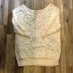 Cream Colored Lace Top Adorable and comfortable! This is a cream color and looks awesome with numerous colors underneath it. Dress it up or down. Gently worn, but still lots of life left! Eyelash Couture  Tops