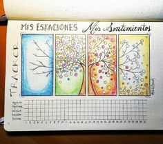A gallery of beautiful Year in Pixels spreads like this gorgeous Tree-of-Four-Seasons mood tracker. Such creative bullet journal ideas!