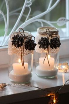 candle holders with lace & pinecones....so simple...so pretty