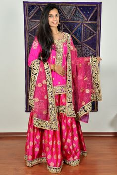 Adaa Designs - Gharara Pakistani Party Wear, Pakistani Couture, Pakistani Outfits, Indian Bridal Outfits, Indian Dresses, Bridal Dresses, Gharara Designs, Dulhan Dress, Frock Fashion