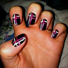 My first attempt at nail designs... Plaid. A little messy but kind of cute. - Click image to find more Women's Apparel Pinterest pins
