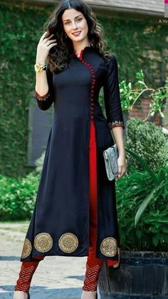 Salwar Designs, Silk Kurti Designs, Kurta Designs Women, Kurti Designs Party Wear, Latest Kurti Designs, Simple Kurta Designs, Stylish Dress Designs, Stylish Dresses, Stylish Kurtis Design