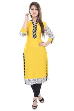 Yellow Long Kurta For Women Printed Abstract 3/4 Sleeves Rayon BCRMF-5125-V Check more at http://www.indian-shopping.in/product/yellow-long-kurta-for-women-printed-abstract-34-sleeves-rayon-bcrmf-5125-v/