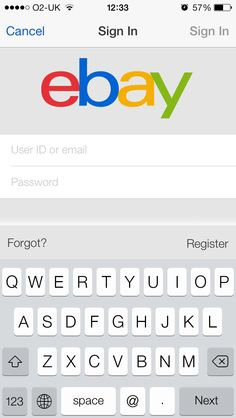 Ebay- Register and Forgot Buttons