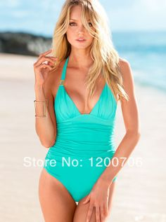 Free Shipping 2014 Summer Beach Bathing Suits Forever Sexy Ruched Halter One-piece Victoria Swimwear $13.89