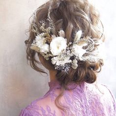 bridal head dress*white Ⅰ Asian Flowers, Flowers In Hair, Dried Flowers, Bridal Hairdo, Bridal Hair And Makeup, Hair Makeup, Head Accessories, Bridal Accessories, Up Styles
