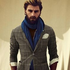 (Nice Shirt, Jacket & Scarf Combination) Is it just me or are full beards making a comeback.