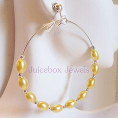 Clip on YELLOW 2.5 inch  Oval Faux Pearl Hoop Handmade Non-Pierced Earrings V149 #Handmade #Hoop #cliponearrings #hoopearrings #juiceboxjewels #fauxpearlearrings