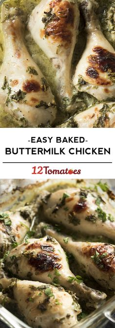 Easy baked buttermilk chicken! A quick and delicious dinner for a busy weeknight.