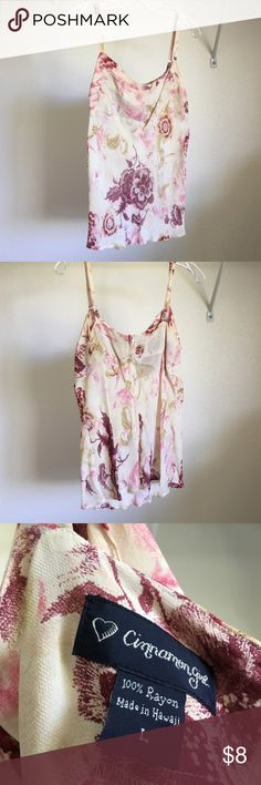 Blouse - tank top Cinnamon Girl (Hawaii Boutique) Cute, large, tank top with adjustable straps. Sheer print w/ cream/maroon/pink/green floral print. Adjustable straps and back zipper closure. 100% rayon. Bought from an upscale boutique Cinnamon Girl in Hawaii. Tops retail between $52-$68. Cinnamon Girl Tops Blouses
