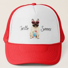 Summer French Bulldog Trucker Hat   pug diy, new puppy gifts, small pugs #pugcollections #pugcollection #friendsthatbuymesocks Pug Diy, Small Pug, Puppy Gifts, Cute French Bulldog, Dog Recipes, New Puppy, Party Hats, Funny Cute, Dog Days