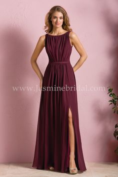 Jasmine Bridal Bridesmaid Dress B2 Style B173052 in Cranberry // This bridesmaid dress is versatile and chic, a great choice for your bridal party. The dress is made of the soft Poly Chiffon fabric and features a high boat neckline, vertically ruched bodice, V-back neckline, and A-line skirt with slit.