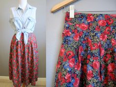 Romantic Floral Skirt Vintage Country by InTheHammockVintage, $22.00
