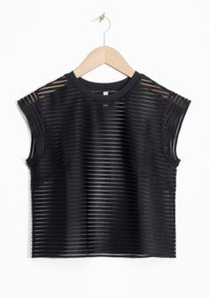 & Other Stories image 1 of Transparent Cropped Top in Black