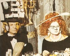 Baron Alexis de Redé in a Dalí designed Hat at the Rothchild's Surrealist Ball at Chateau de Ferrieres