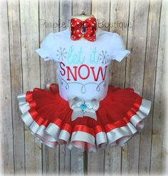 Let It Snow Holiday Outfit - Let It Snow Shirt - Let It Snow Shirt with Ribbon Trim Tutu - Silver and Red - Christmas Christmas Tutu, Christmas Ribbon, Chocolate Mini Cupcakes, Let It Snow, Let It Be, Ribbon Tutu, Snow Holidays, Toddler Girl Outfits, Girl Toddler