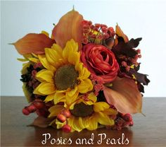 Hand-Tied, Fall Artificial Flower Bridal Bouquet and Boutonniere with Silk Sunflowers and Ranunculus, Berries, Leaves, Real Touch Calla Lilies, Natural Pine Cones, Harvest ***This bouquet is currently Made Per Order. Due to the Seasonal Availability of some accents in these