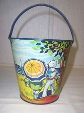 """VINTAGE 5 1/2"""" CONTINENTAL CAN TOY SAND PAIL W/SAILOR, BEACH, BOATS - MARKED"""