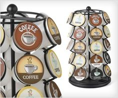 This cool looking rotating stand can hold upto 35 K-cups. Looks good and provide quick access to cup of your choice. #food #organize
