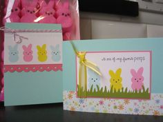 Easter Peeps Card Set of 2 Easter Card by apaperaffaire on Etsy, $5.25