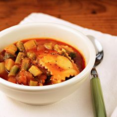 Quick and easy tomato vegetable soup with cheese ravioli is perfect on a rainy day.