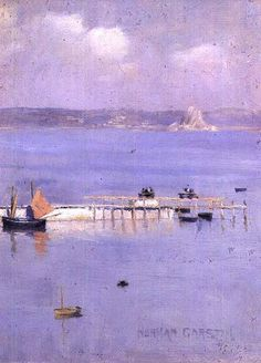 view of the bay of Mont with the North Pier by Norman Garstin 1847 - 1926 Irish artist    art-and-dream: