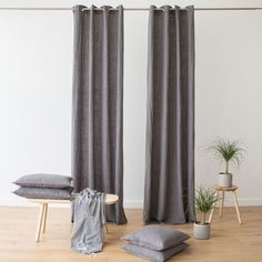 Each curtain is crafted from prewashed heavyweight linen, and has eight eyelet grommets to fasten through a curtain pole for smooth opening and closing. Grommet curtains also hang in clean lines when open, creating an uncluttered feel. Neutral Curtains, Thick Curtains, Linen Curtains, Grommet Curtains, Curtain Fabric, Grey Lounge, Curtain Poles, Steel, Interior