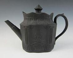 Antique ENGLISH BLACK BASALT TEAPOT Pottery Porcelain Wedgwood Style Jasperware