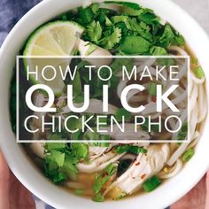 Quick weeknight chicken pho from expert Andrea Nguyen! Shortcut version of traditional Vietnamese noodle soup. 30-minutes. Gluten-free. #pho #vietnamesefood #soup #simplyrecipes