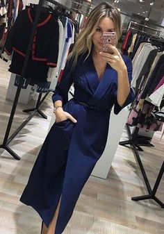 Available Sizes : S;XL Bust(cm) : Waist(cm) : Hip(cm) : Type : Slim Material : Polyester Color : Blue Decoration : Pockets, Sashes Pattern : Plain Collar : Turndown Collar Length Style : Below Knee Sleeve Length : Lo Look Fashion, Skirt Fashion, Fashion Dresses, Womens Fashion, Blazer Dress, Dress Skirt, Classy Outfits, Chic Outfits, Mode Bcbg