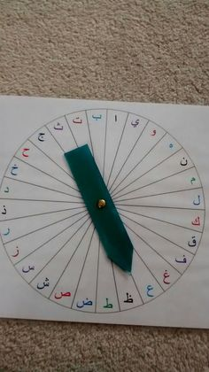 Arabic letter spinner. Can use very early on for saying names/writing all four forms, then later could be used for coming up with words that start with that letter, or spinning three times and using root in word, etc.