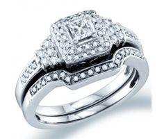Diamond Engagement Ring Wedding Band Bridal Set 14k White Gold (1/2ct) #Diamond #wedding #Bridal #Ring #fashion #Jewelry #White jeweltie.com