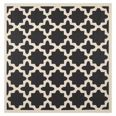 5'3x5'3 Safavieh Courtyard Black / Beige Rug | Wayfair $65