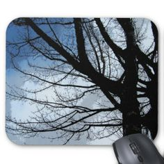 Blue Skies and Alder Tree Abstract Mouse Pads #skies #sky #blue #alder #trees #scenic #abstract #mousepads #windywinters #zazzle