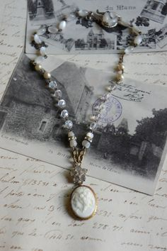 Delila's Time-Vintage assemblage necklace by frenchfeatherdesigns