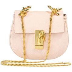 Chloe Drew Shoulder Bag ($1,100) ❤ liked on Polyvore featuring bags, handbags, shoulder bags, chloe, pink, pink leather purse, chloe shoulder bag, evening handbags, chloe purses and shoulder handbags