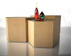 Modern Nested Wooden Hexagon Coffee Table Set by Designbystanford, $1149.00