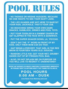 1000 ideas about pool rules sign on pinterest pool - Residential swimming pool regulations ...