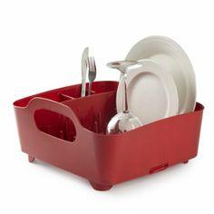 Umbra Tub Dish Drying Rack, Red