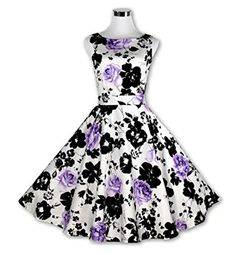 Ilucky Womens Vintage 50s Printing Big Swing Style Party Dress No18 XXL purple ** To view further for this item, visit the image link.