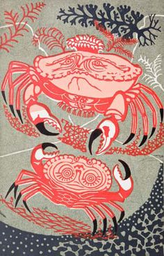 Edward Bawden's, 'An Old Crab and a Young,  Aesop's Fables),1956, linocut, print, printmaking, colour, design, illustration