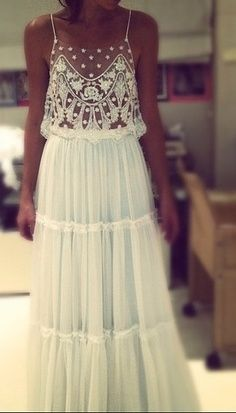 Boho sleeveless shoestring straps embroidered lace wedding dress design inspiration