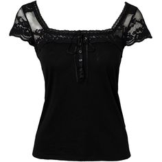 Denim & Supply Ralph Lauren Lace Yoke Top ($86) ❤ liked on Polyvore featuring tops, shirts, black, womens-fashion, lace shirt, shirts & tops, black top, black lace top and lace trim shirt