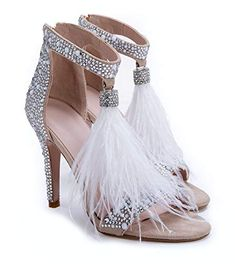 74cf669dd993 Hinyyrin Women s Tassels Rhinestone Heeled Sandals Wedding Dress White  Sandals Stiletto Heel Pearl Size 11.